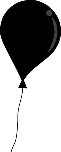 240x596 Black Balloon String Clip Art