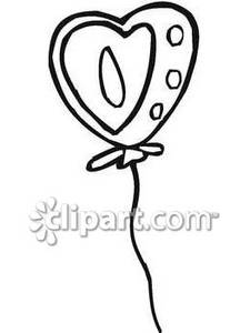 225x300 Clip Art Black And White Heart Balloon Clipart