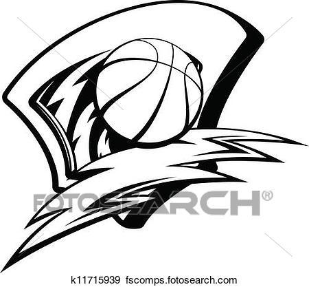 450x417 Clip Art Of Basketball Lightening Shield K11715939