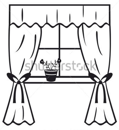 380x415 Curtains Clipart Black And White