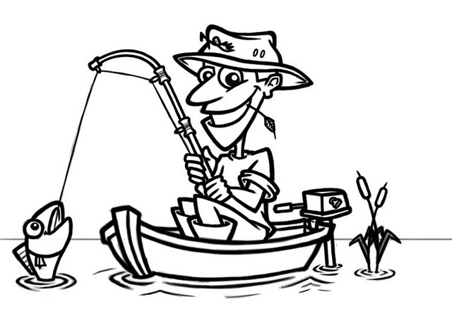 640x441 Fisherman In Boat Clipart Black And White Letters