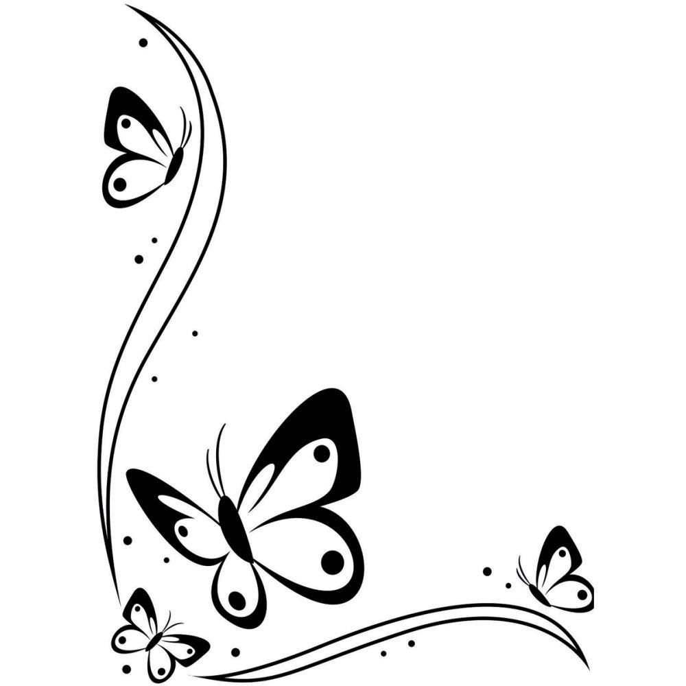 1000x1000 Butterfly Clipart Black And White