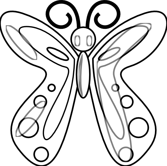 555x553 Butterfly Clipart Black N White