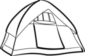 170x112 Black And White Camping Clipart