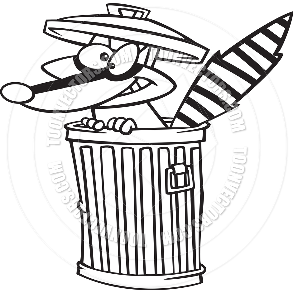 940x940 Cartoon Raccoon In A Trash Can (Black And White Line Art) By Ron