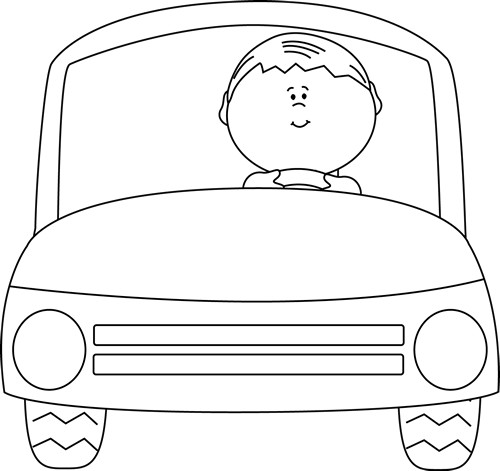 500x471 Black And White Kid Driving A Car Clip Art