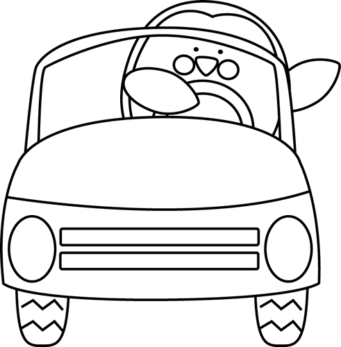 491x500 Black And White Penguin Driving A Car Clip Art