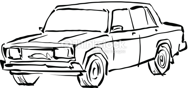 603x284 Drawn Car Black And White