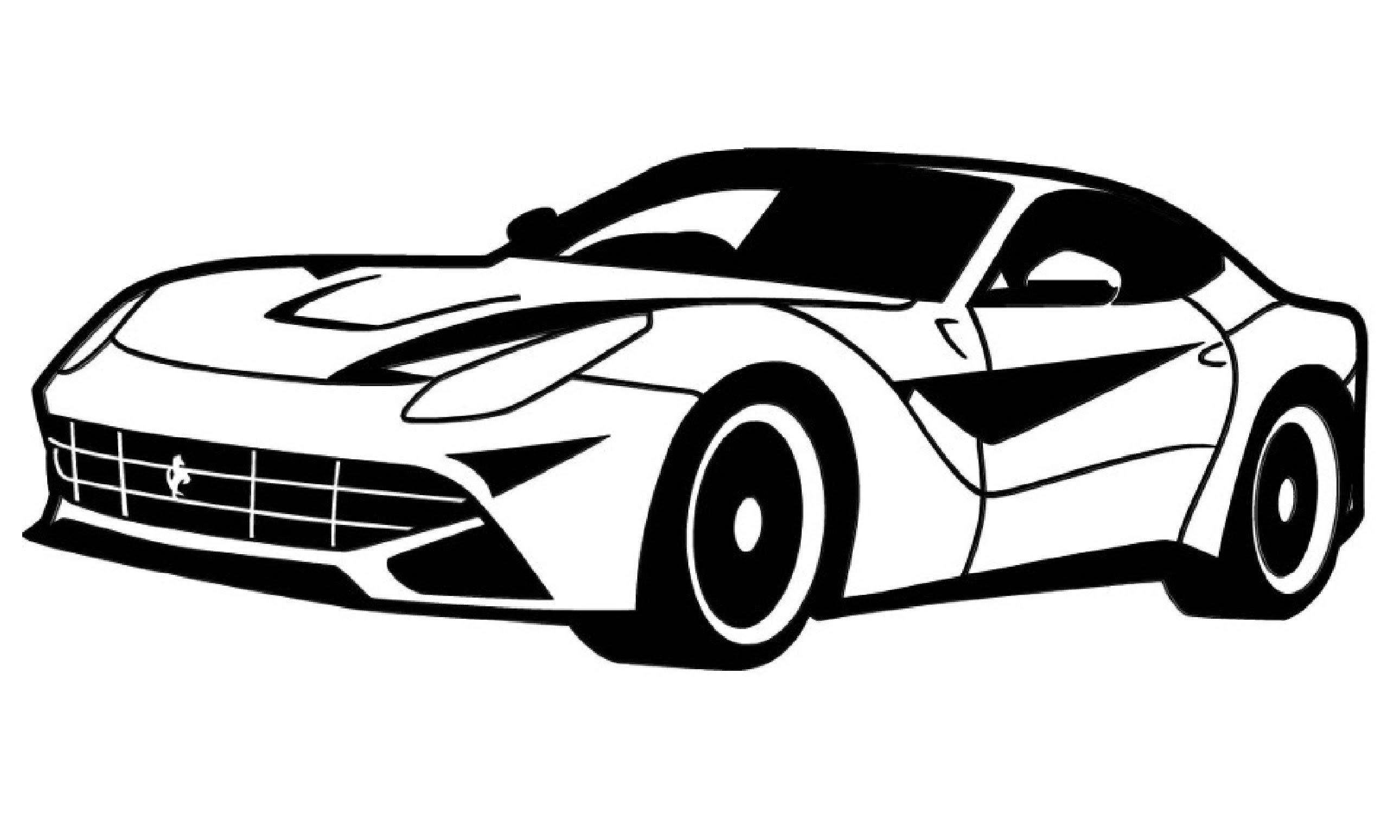 2581x1549 Drawn Ferrari Black And White