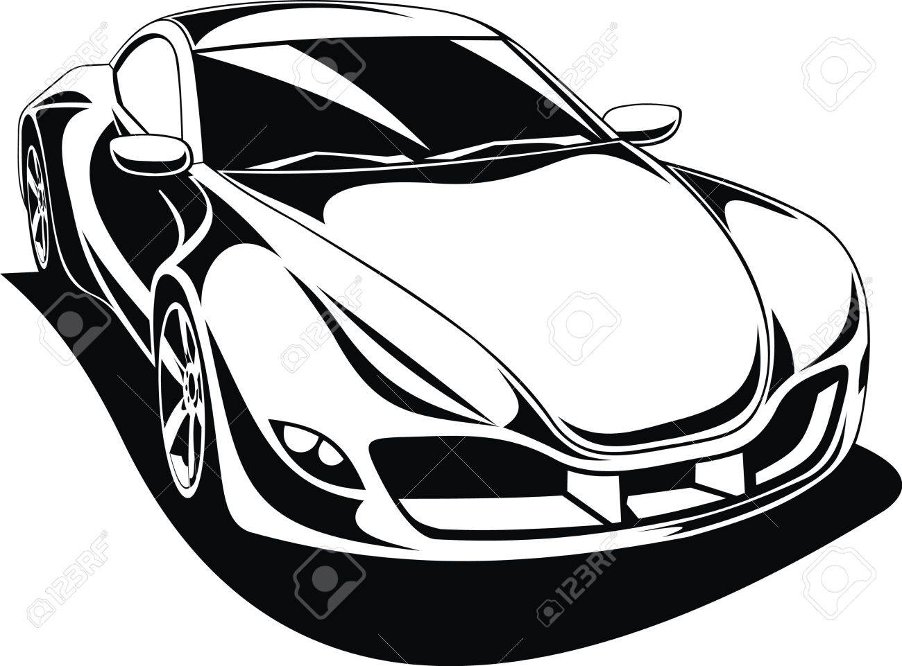 1300x961 My Original Sport Car Design In Black And White Royalty Free