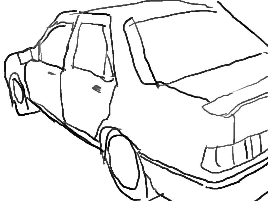 1024x768 Simple Drawing Of A Car
