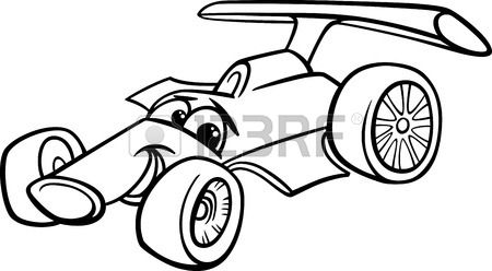 450x248 Black And White Cartoon Funny Racing Car Royalty Free Cliparts