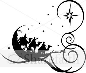 300x255 Religious Christmas Clip Art Black And White Clipart Panda