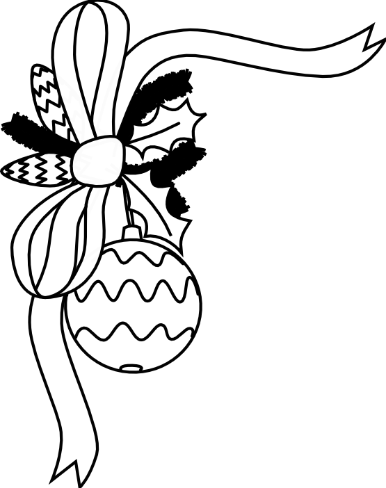 555x702 Black And White Christmas Ornament Clipart