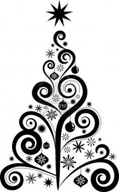236x380 Christmas Tree Black Outline Wall Mural We Live
