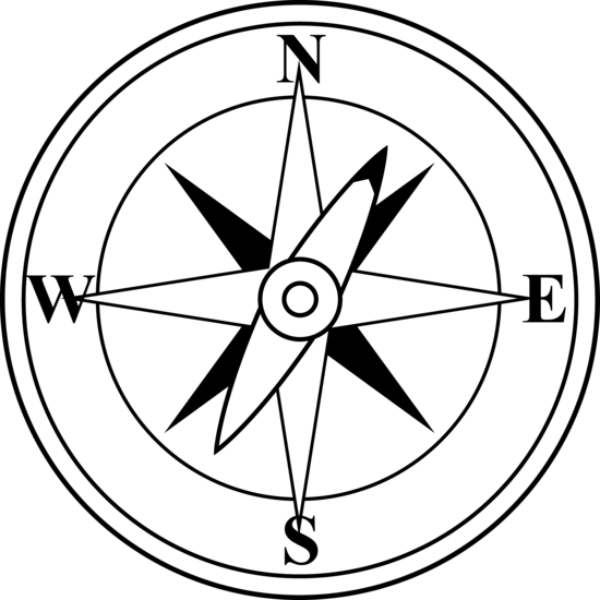 550x550 Black And White Compass