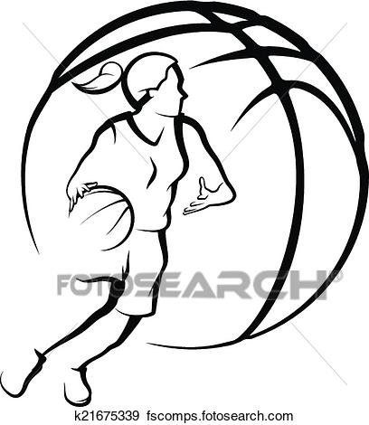 408x470 Clip Art Of Girl Dribbling A Basketball K21675339