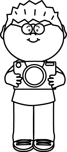 232x527 Black And White Boy With Camera Clip Art