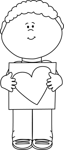 215x500 Black And White Boy With Valentine Heart Drawing Clip Art