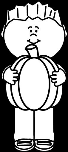228x505 Black And White Kid Holding A Pumpkin Clip Art