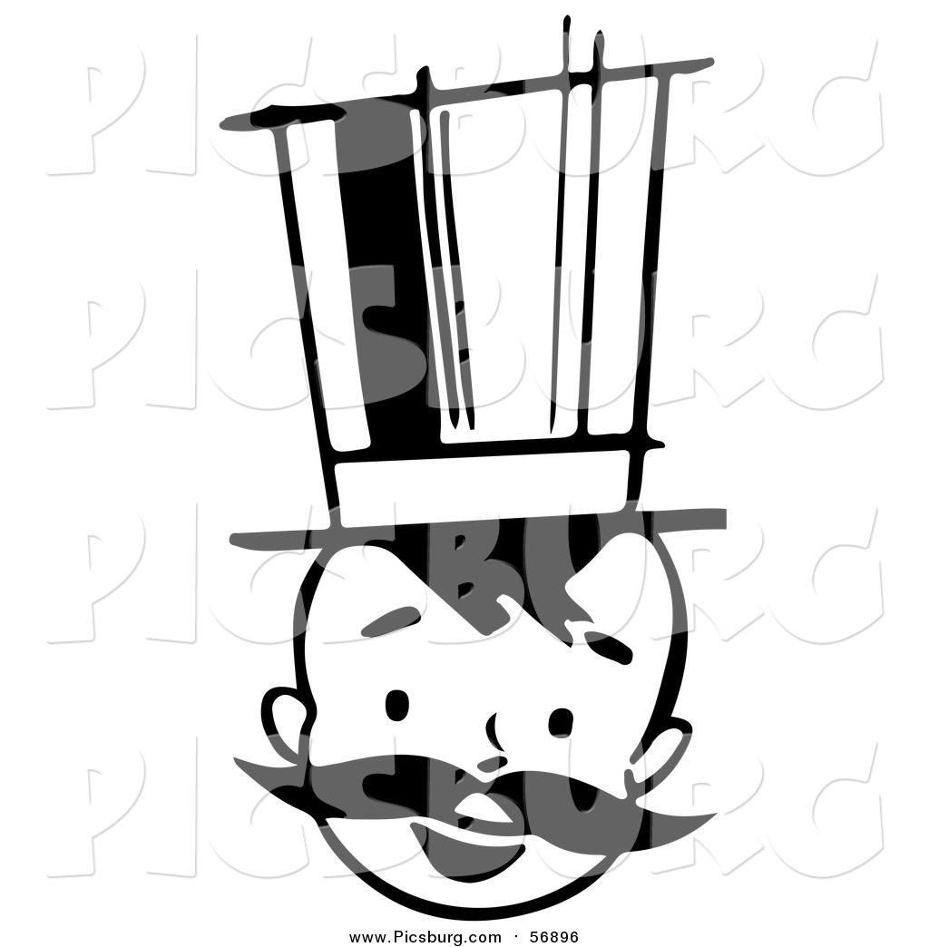 1024x1044 Vector Clip Art Of A Black White Retro Boy With A Mustache