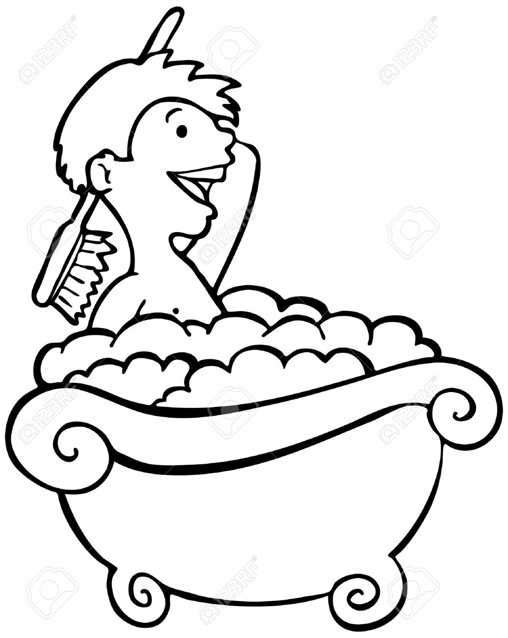 1035x1300 Clipart Of Black Boy Taking A Shower
