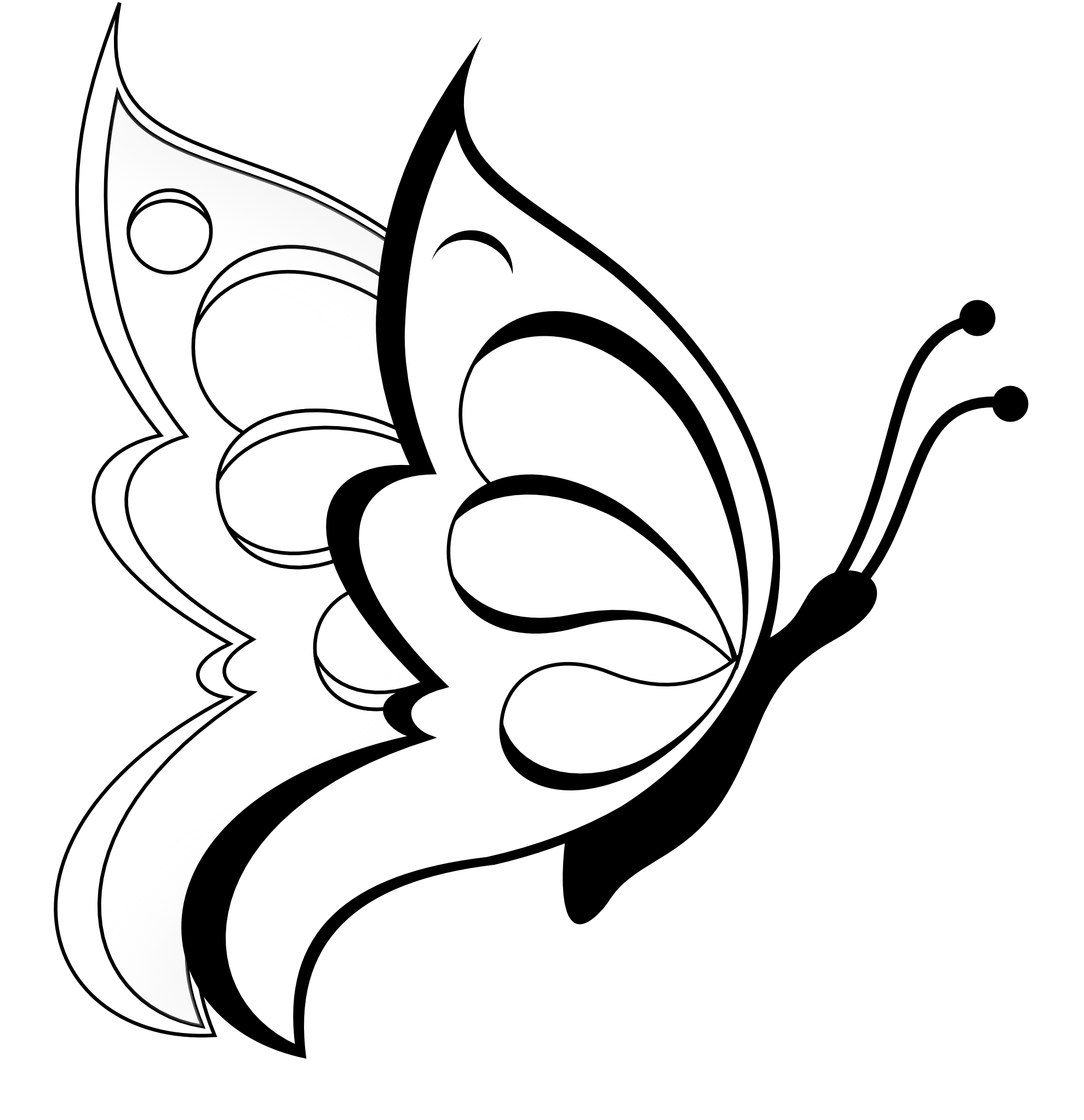 1979x2045 Butterfly Clipart Butterfly 19 Black White Line Art Coloring
