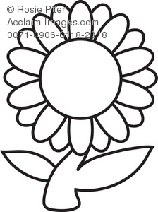 224x300 Clip Art Illustration Of A Daisy Flower In Black And White