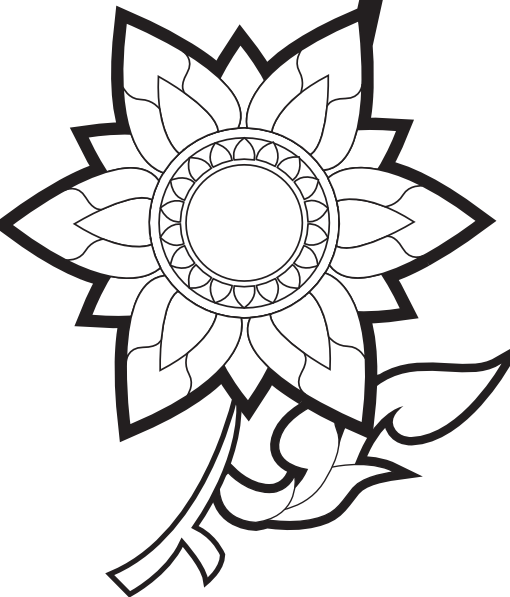 510x597 Pink Flower Decoration In Black In White Clip Art
