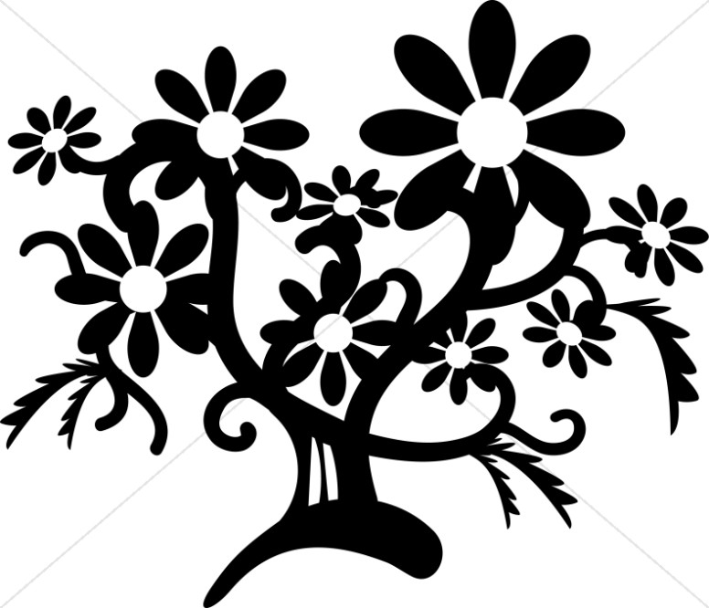 776x666 Black And White Flower Tree Church Flower Clipart