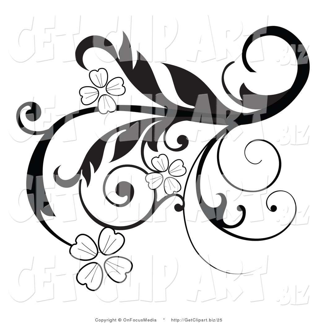 1024x1044 Black And White Floral Clipart