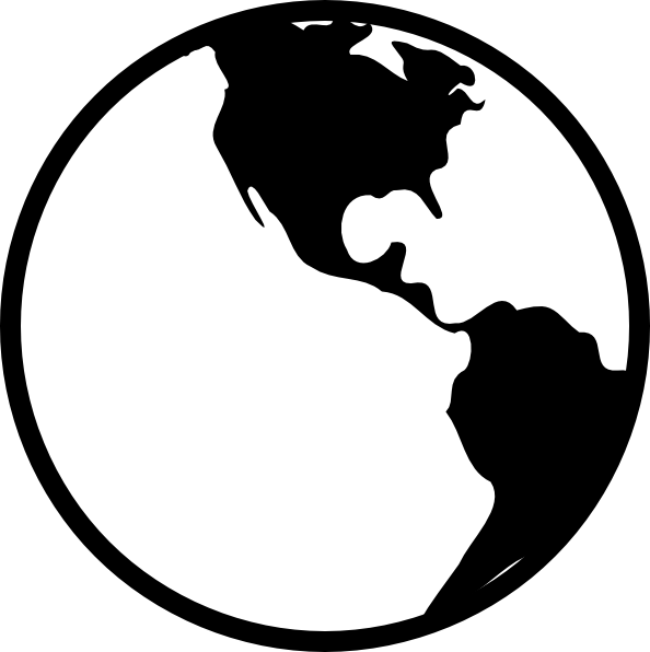 594x596 Free Globe Clipart Black And White Image