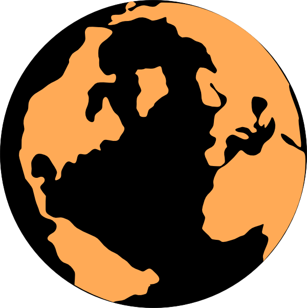 600x601 Orange And Black Globe Clip Art