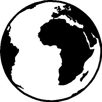 360x360 Black And White Globe Clipart
