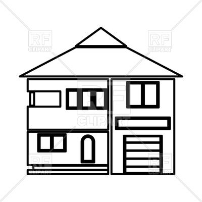 400x400 House Outline On White Background