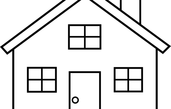 550x350 Black And White House Clipart