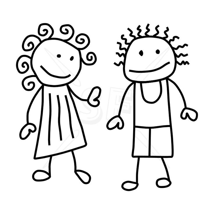 Black And White Clipart Kids