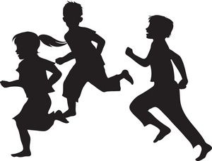 Black And White Clipart Kids Playing