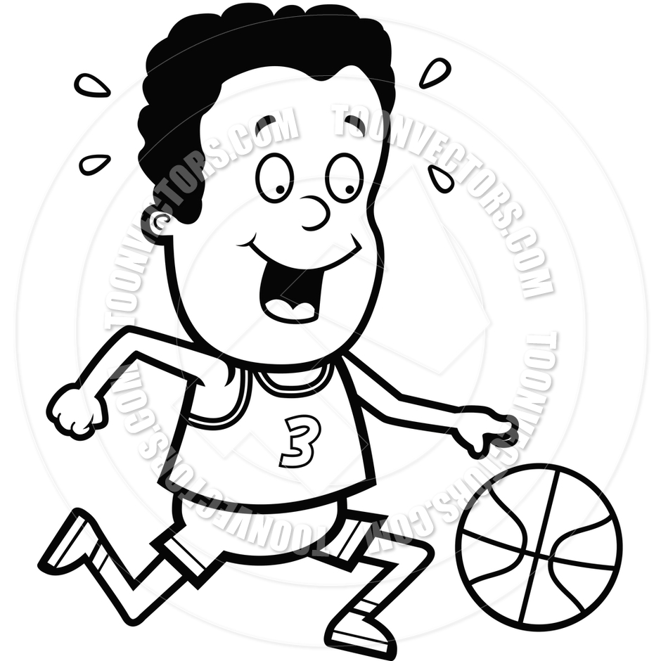 940x940 Child Playing Basketball (Black And White Line Art) By Cory Thoman