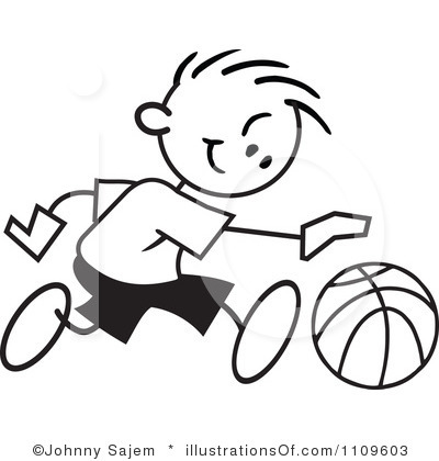 400x420 Kids Playing Basketball Black And White Clipart
