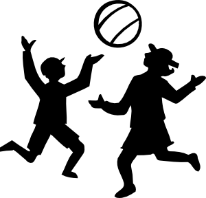 300x288 Silhouette Of Kids Playing With A Ball Clip Art