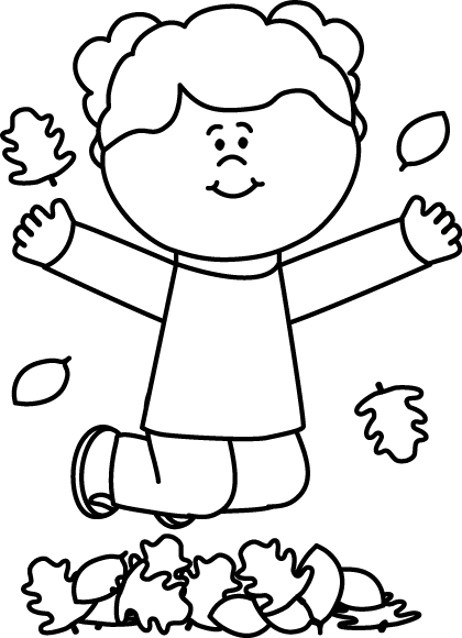 420x580 Black and White Girl Jumping in Leaves Clip Art
