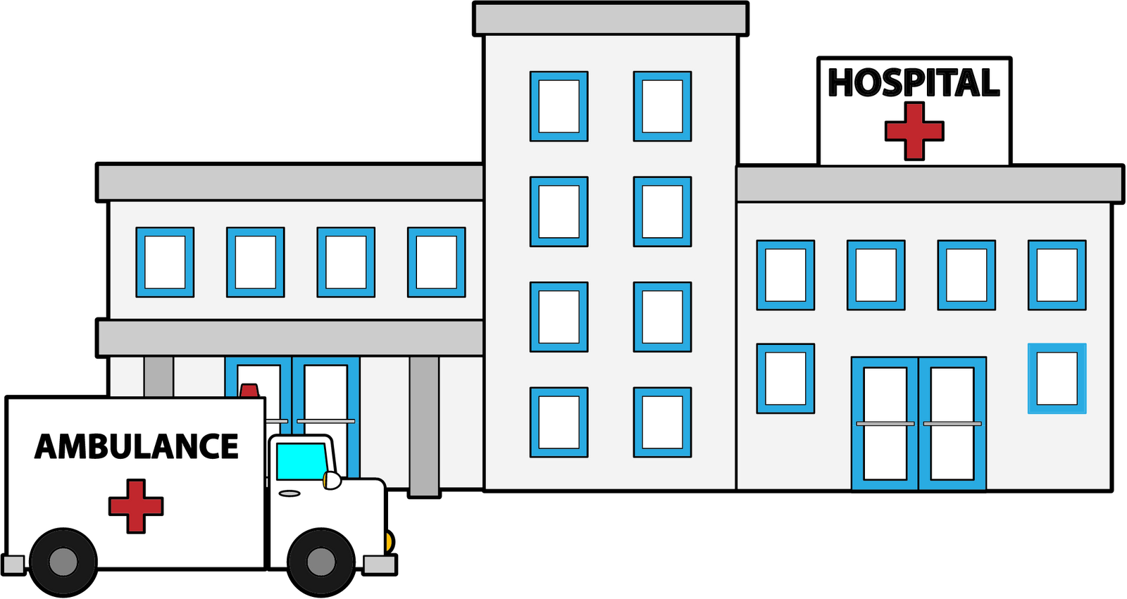 1600x851 Hospital Clipart Black And White