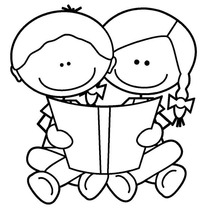 736x763 Children Reading Clip Art Black And White