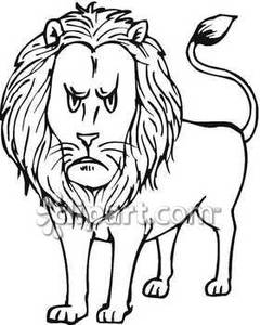 Black And White Clipart Lion | Free download best Black ...