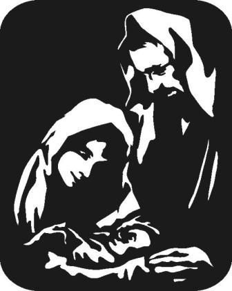 Black And White Clipart Nativity Scene