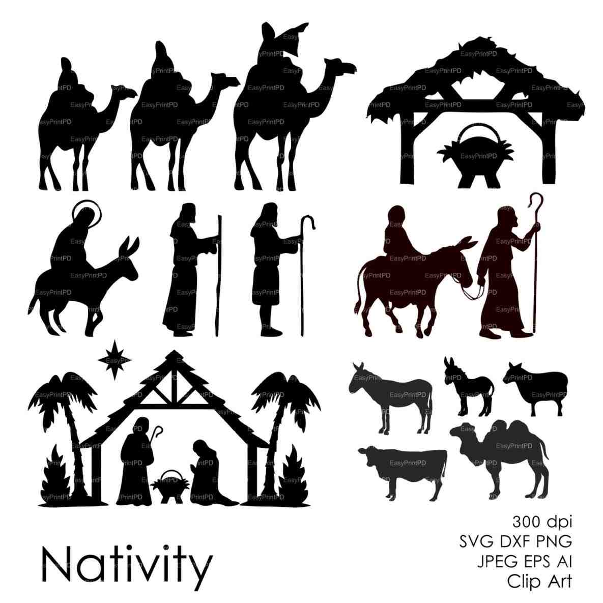 Black And White Clipart Nativity Scene | Free download on ClipArtMag