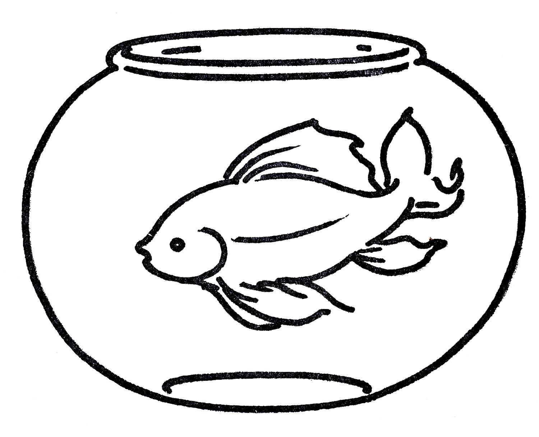 1500x1215 Fish Bowl Coloring Pages Clip Art