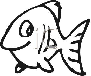 350x291 Black And White Cute Cartoon Fish