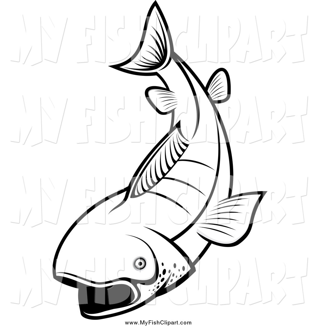 1024x1044 Clip Art Of A Black And White Fish By Vector Tradition Sm